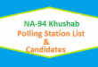 NA 94 Khushab Polling Station Names and List of Candidates for Election 2018