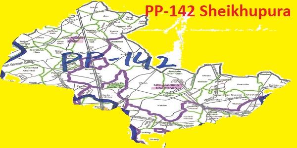 PP 142 Sheikhupura Area Map of Punjab Assembly Constituency (Halqa) 2018