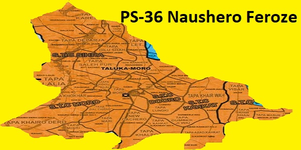 PS 36 Naushero Feroze Area Location Map of Sindh Assembly Halqa 2018