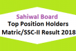 Sahiwal Board Top Position Holders Matric SSC-II, X class Result 2018 - BISE SWL Online Toppers Names and List