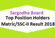 Sargodha Board Top Position Holders Matric SSC-II, X class Result 2018 - BISE Sgd Online Toppers Names and List