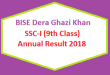 BISE Dera Ghazi Khan (BISEDGK) Board 9th Class Result 2018 - SSC Part 1 Online Matriculation