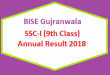 BISE Gujranwala (BISEGRW) Board 9th Class Result 2018 - SSC Part 1 Online Matriculation
