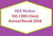 BISE Multan (BISEMLN) Board 9th Class Result 2018 - SSC Part 1 Online Matriculation