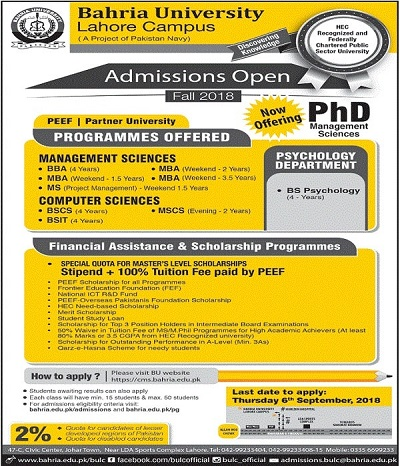 Bahria University Lahore Campus Admissions 2018 – BS MBA BBA MS