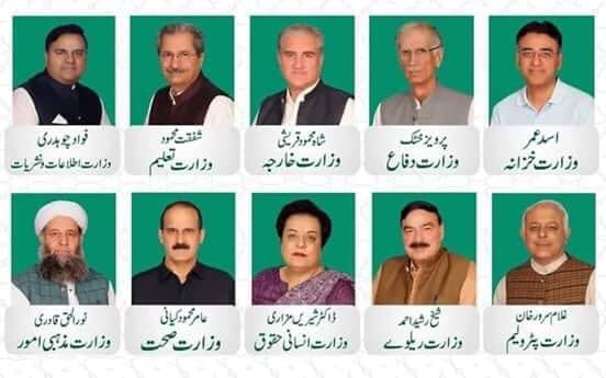federal cabinet of pti's imran khan government of pakistan - list of