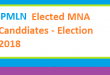 PMLN Elected List of MNA Candidates in Election 2018