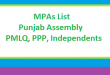Punjab Assembly MPA List, PMLQ, PPP and Independents - Election 2018