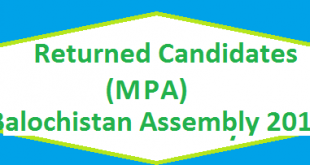 Returned Candidates List MPA Balochistan Assembly 2018