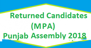 Returned Candidates List MPA Punjab Assembly 2018