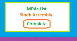 Sindh Assembly MPA List All (Complete) - Election 2018