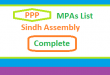 Sindh Assembly PPP MPA List - Election 2018