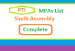 Sindh Assembly PTI MPA List - Election 2018