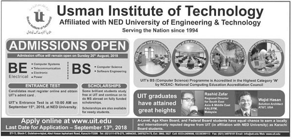 Usman Institute of Technology - Admission 2018 in BE, BS Programs