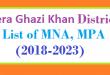 Dera Ghazi Khan List of MNA and MPA Assembly Tenure 2018 to 2023