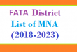 FATA District List of MNA Assembly Tenure 2018 to 2023