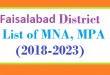 Faisalabad District List of MNA and MPA Assembly Tenure 2018 to 2023