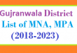 Gujranwala District List of MNA and MPA Assembly Tenure 2018 to 2023