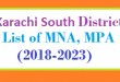Karachi South District List of MNA and MPA Assembly Tenure 2018 to 2023