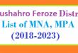 Naushahro Feroze District List of MNA and MPA Assembly Tenure 2018 to 2023