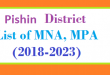 Pishin District List of MNA and MPA Assembly Tenure 2018 to 2023
