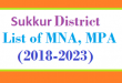 Sukkur District List of MNA and MPA Assembly Tenure 2018 to 2023