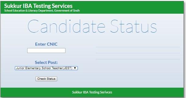 Check Candidate Status Posts JEST, ECT Sindh School Teachers Online
