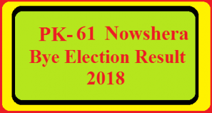 PK-61 Nowshera By Election Result 2018 Live Detail Update Online