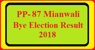 PP-87 Mianwali By Election Result 2018 Live Detail Update Online