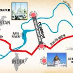 Location Map of Kartarpur Rahdari - Border Between India and Pakistan and Karatarpur shrine and Dera Baba Nanak Sahab of Sikh Community