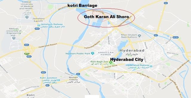 Location Map Goth Karam Ali Shoro Hyderabad Near Kotri Barriage - PPP Jalsa - Asif Ali zardari Address 15-12-2018-min