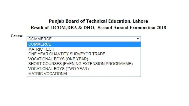 PBTE Lahore Board 2nd Annual Result 2018 - DAE, Dcom Matric