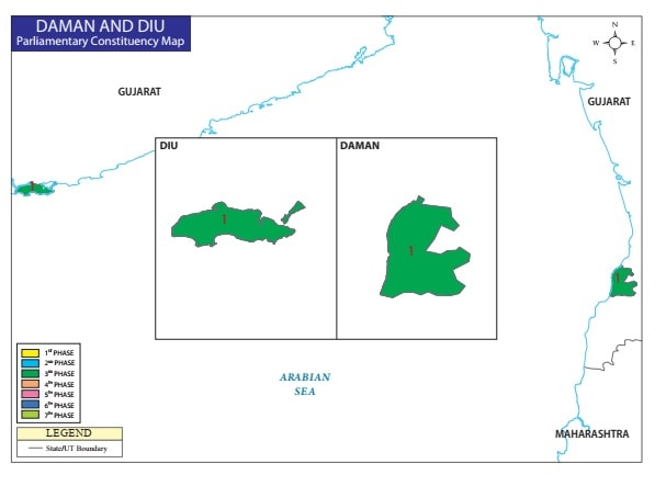 Daman and Diu Lok Sabha General Election Schedule Map (PC) 2019 on